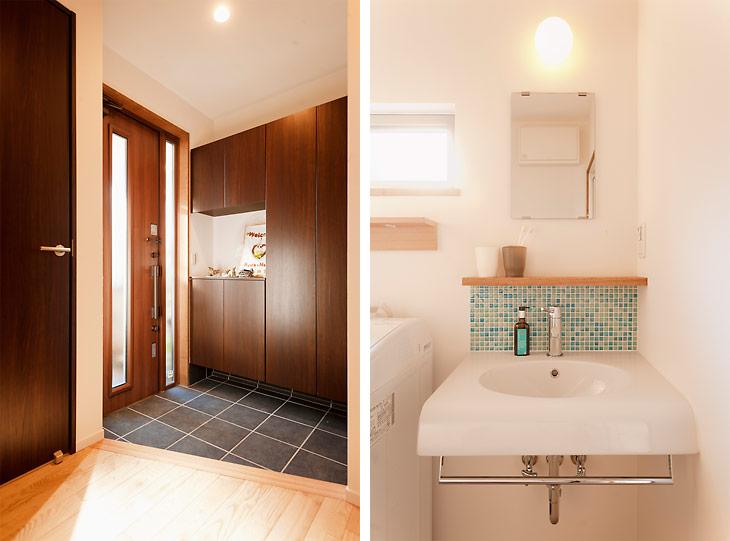 (写真左)玄関も明るく広く生まれ変わりました (写真右)左に見える洗濯機の上の棚は、Tさんが自分で取りつけたそう