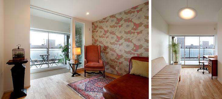 (写真左)アクセントクロスが印象的な寝室 (写真右)中央の洋室は将来の子ども部屋として確保