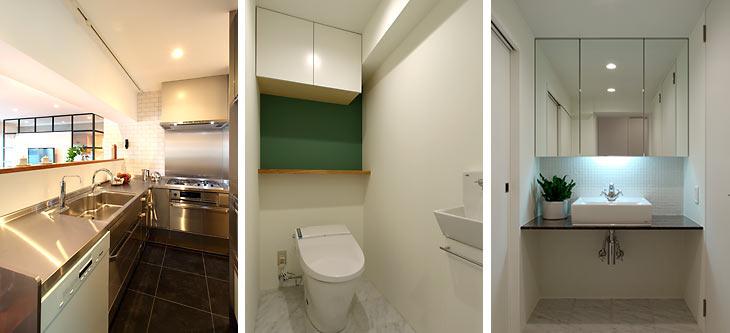 (写真左)オールステンレスでシャープな印象のキッチン (写真中)アクセントクロスで落ち着いた雰囲気に (写真右)三面ミラーで収納力を確保
