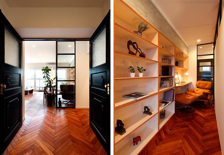 (写真左)重厚感のあるセンタードア (写真右)壁一面の書棚には蔵書やCDを配置予定