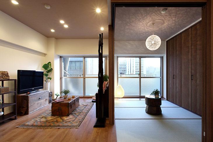 元の洋室はオープンな和室に変更しました
