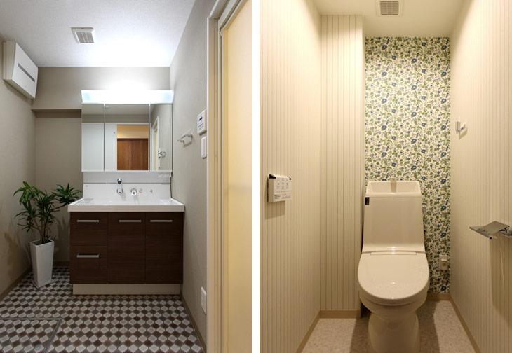 (写真左)レイアウトを変え、モダンで使いやすくなった洗面室  (写真右)トイレは最新の機器に入れ替え、お好みの壁紙をアクセントに