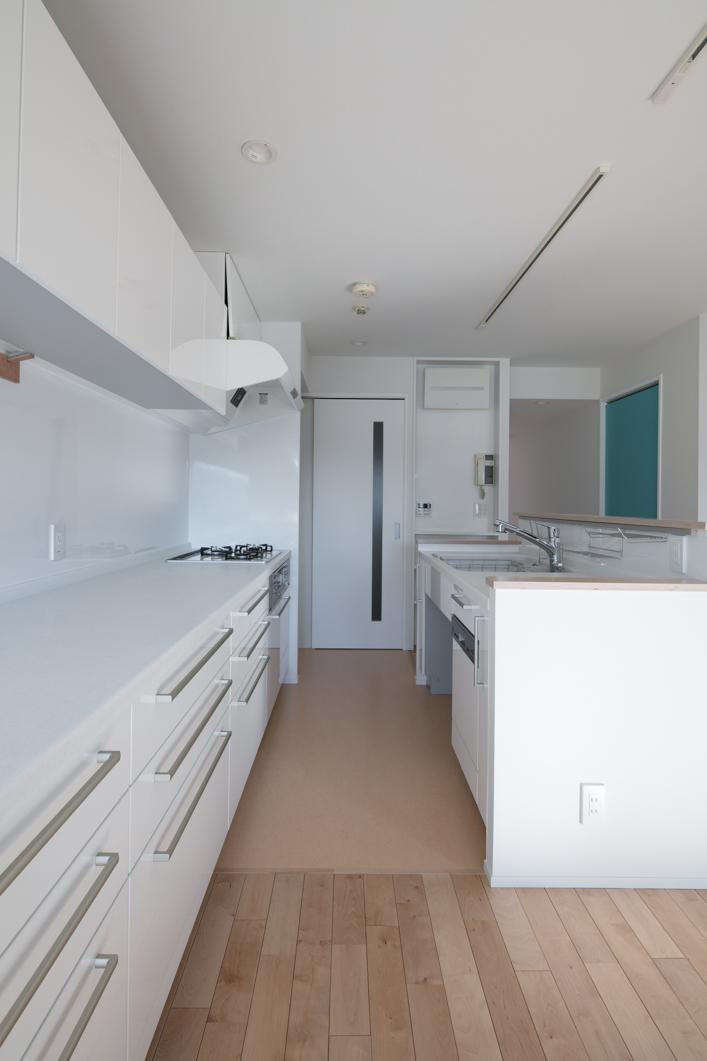 Ⅱ型の大型キッチン。キッチンの収納量もこだわりの1つです。