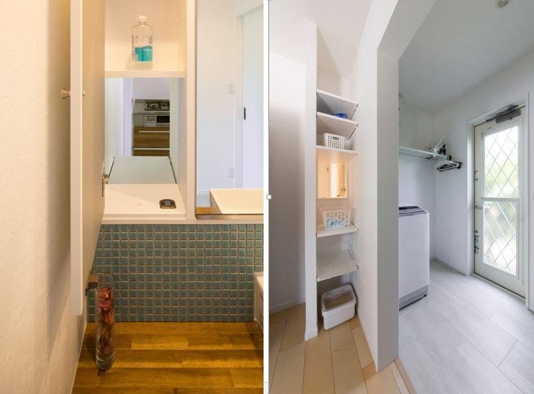 キッチンに通じる隠し扉を使えば、洗面所からキッチン隣接のユーティリティへ、洗濯物の移動も楽々。