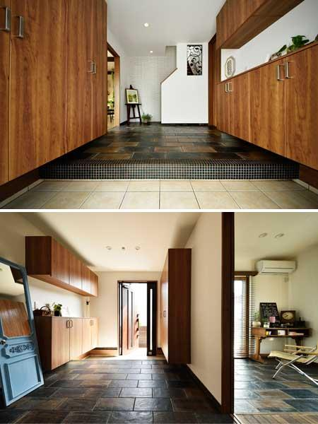 趣味室とテイストをそろえたヴィンテージ調の玄関です。部分リフォームでも玄関のデザイン変更でフルリフォームの印象に。