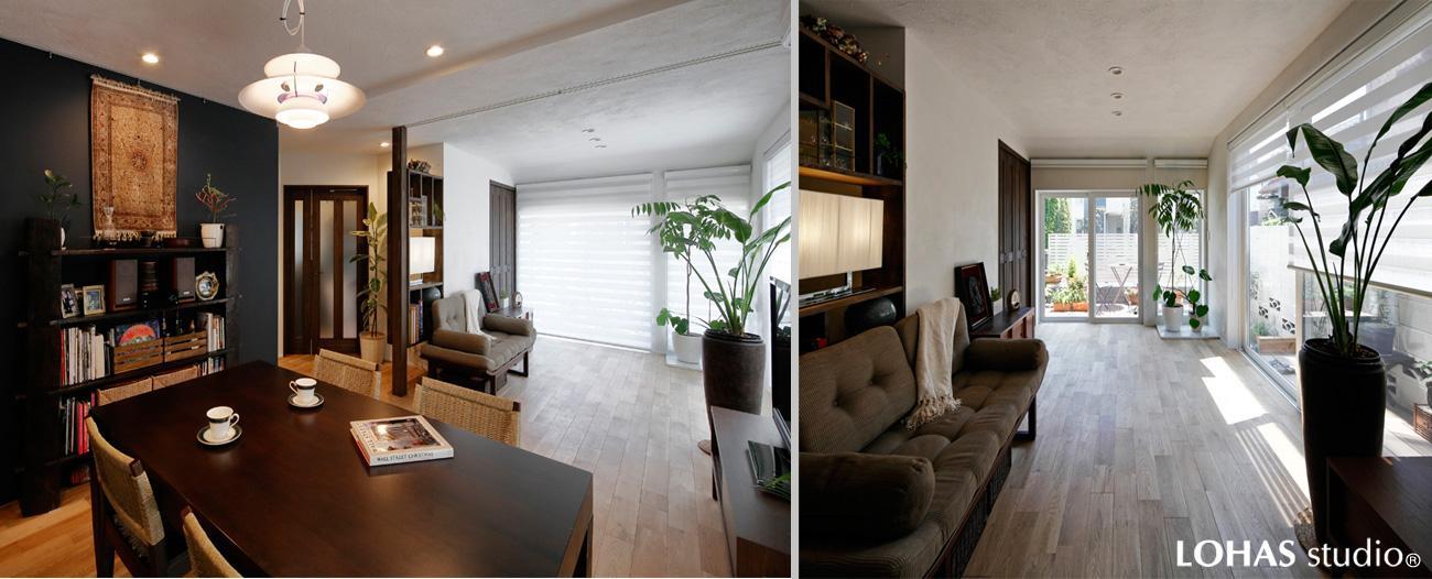 貴賓あるアジアン家具と見事に調和したLDです。アクセントの効いた濃茶の壁裏には奥様の書斎を造作。リビングとの境界はロールスクリーンで室内を分けゲストルームに使えます。