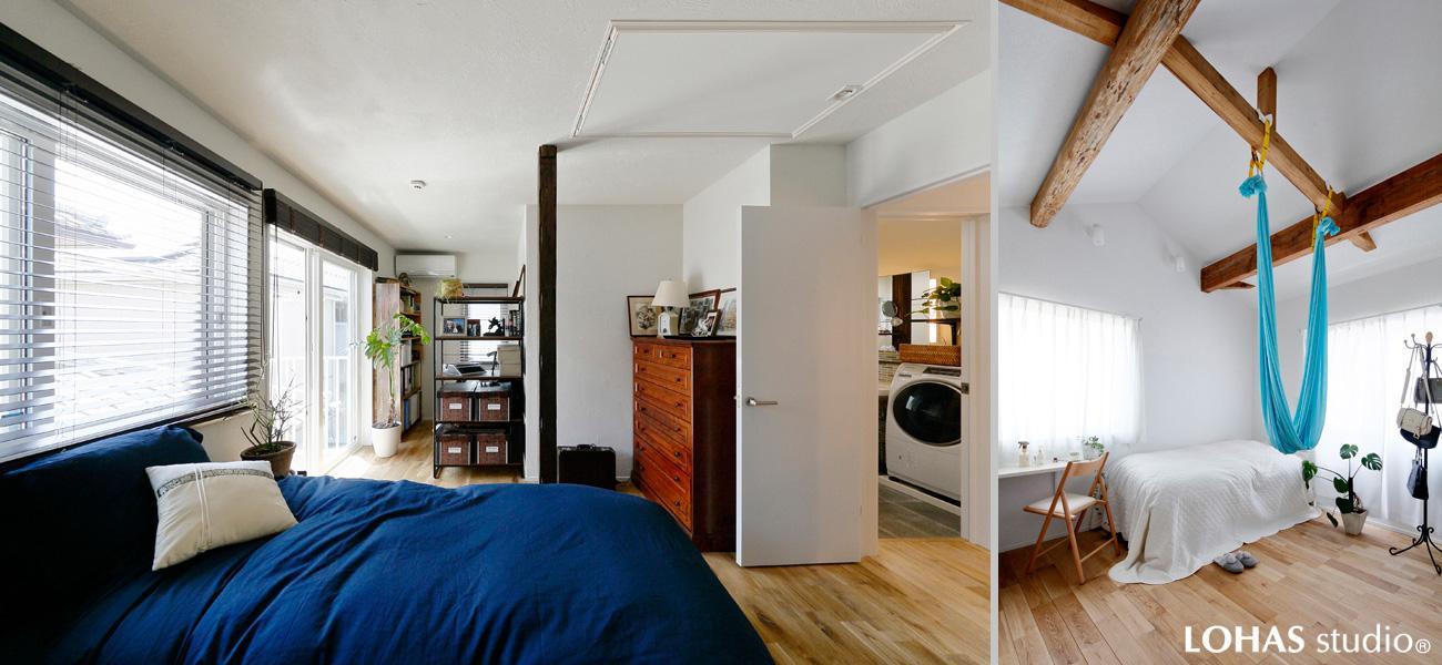 左)遠くまで視線が届く伸びやかな主寝室・書斎です。 右)エレガントな2階洋室は梁を眺める開放的な造り。天井を抜き室内高を上げました。ご趣味のヨガが楽しめるハンモックも設置。