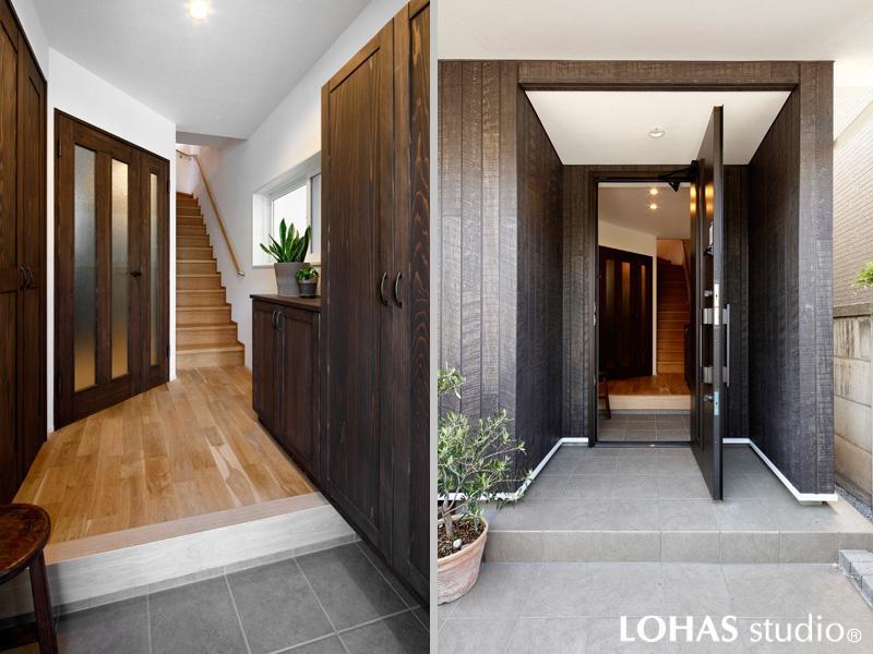 木調とグレイッシュカラーが相性良く馴染むリッチで大人モダンな玄関です。存在感のあるダークブラウンの扉は杉材を使った造作建具。ホールの床は無垢オーク材をクリアに塗装して明るい色調に。