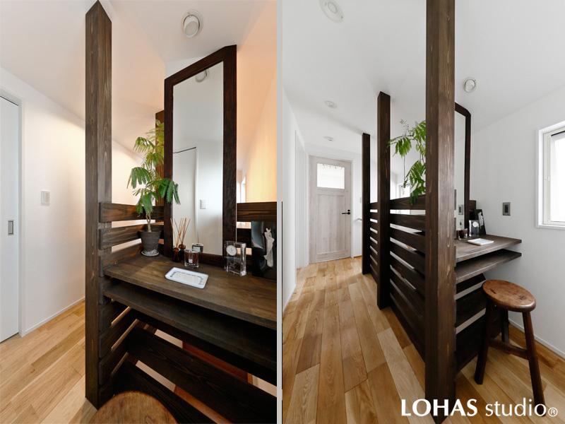 グリーンの似合うラスティックな2階ホール・メイクアップコーナーです。化粧柱とウッドフェンスの合わせ技で光と風が通るナチュラルな空間を完成。耐久性に優れたオーク材(無垢)を床に施工。