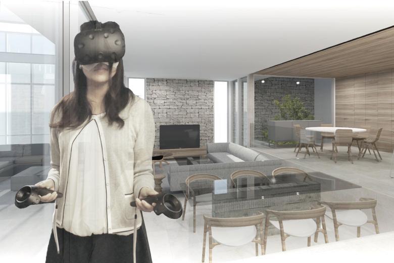 VRを活用したサービスを無料でご提案。平面図では空間を立体的に把握することは難しいですが、リデザインではご要望の間取りを3次元モデルで作成します。  モニター上で3次元モデルをご覧いただけるだけでなく、VRゴーグルを通して空間に入り込み、モデル内を自由に回遊していただけます。これにより、空間の奥行き・高さや内装デザインの仕上がり、さらには家具の大きさや配置に至るまで、実際に暮らしている感覚と同じくらいリアルに、完成宅をご確認いただけます。